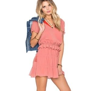 Tularosa Peach Colleen Ruffle Mini Dress